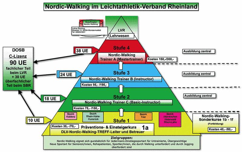 Nordic Walking - Schaubild zu Leistungsstufen und Trainer-Anforderungen
