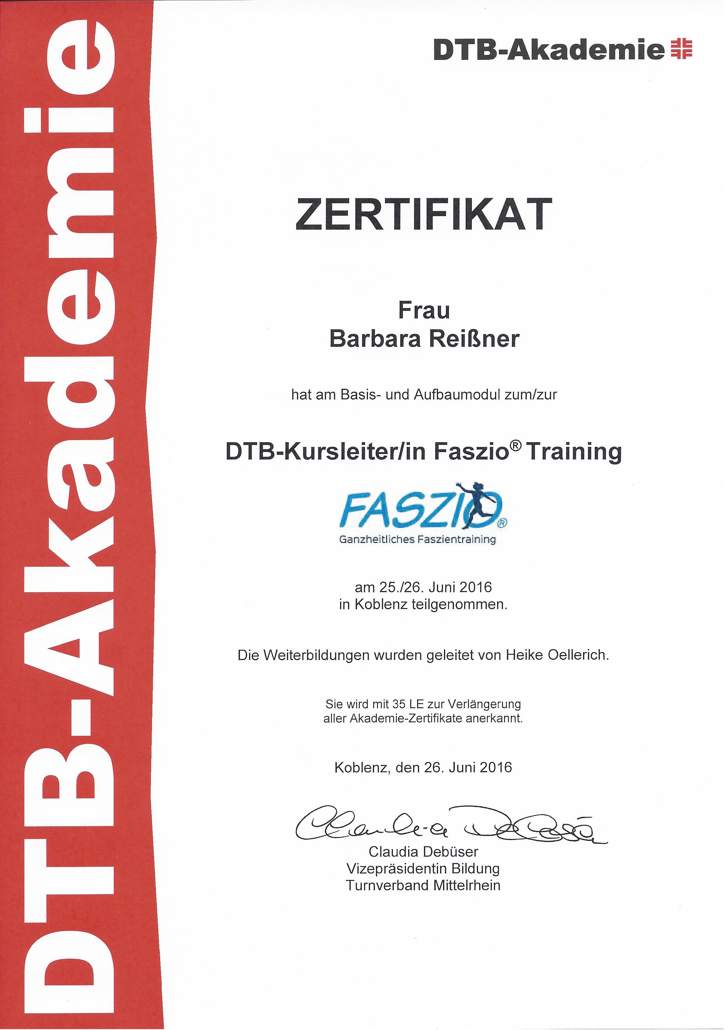 Faszio-Aufbaumodul-Zertifikat